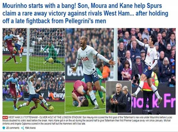 Báo anh ấn tượng: Mourinho ra mắt Tottenham