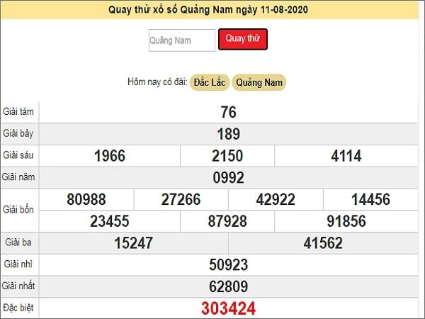 Quay thử xổ số Quảng Nam ngày 11 tháng 8 năm 2020