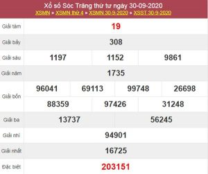 Soi cầu XSST 7/10/2020 chốt lô số đẹp Sóc Trăng thứ 4